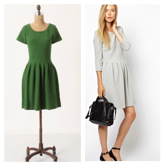 61e602d3 Anthropologie Dresses | Ganni Green Basket Skater Dress Green | Poshmark